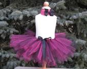 DIY Tutu Kit - Hot pink and black tutu w/matching headband and bow
