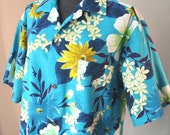 Vintage 70's Aloha Hawaiian Shirt, Barkcloth, Blue, Navy, Turquoise, Yellow, Green, and White Floral, Men's Size Medium or Large