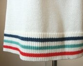 Vintage 80's Knit Skirt, Nautical Stripes, Cream White with Red, Navy Blue and Teal, Women's Size Small to Medium
