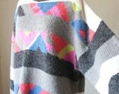 Vintage 80's, Neon Bright Florescent, Turtleneck Sweater, Women's Medium, SALE Price