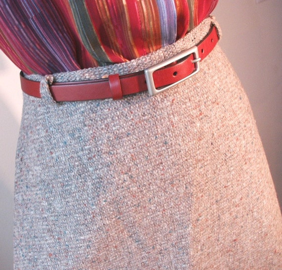 RESERVED FOR FLORE...Vintage 70's Wool Skirt , Tweed, Taupe Gray, A Line, Small to Medium