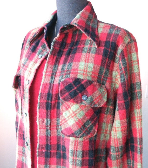 Plaid Flannel Vintage Shirt Tartan Red Black And Green