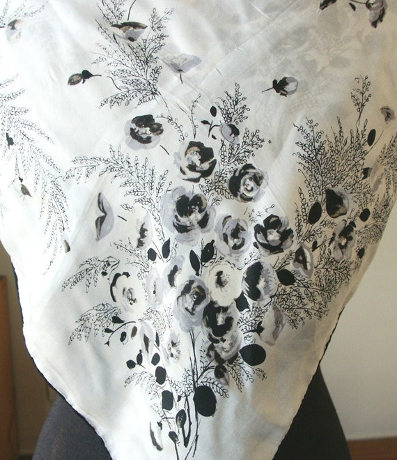 Vintage 50's Scarf,  Pure Silk, White, Gray and Black Floral, Sweet Design