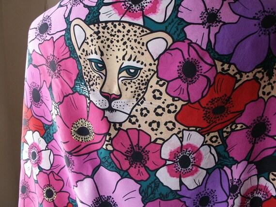 Vintage 80's Scarf,  Novelty Print , Leopard, Floral, Silk, Red, Pink, Purple, Black and Tan, LARGE