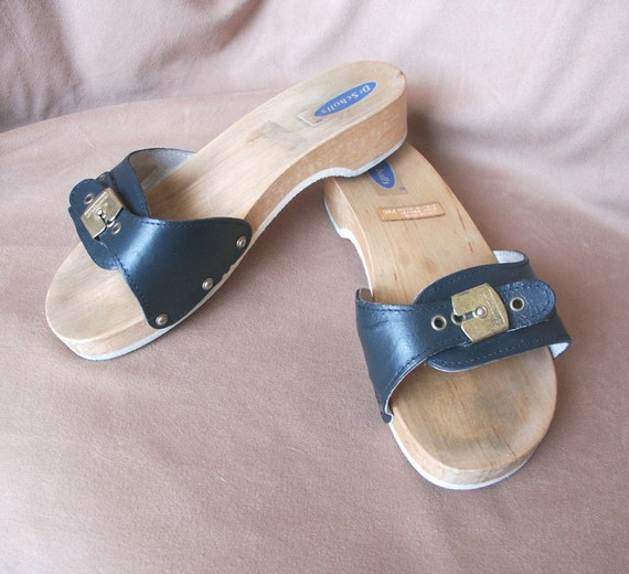 Vintage 70's Dr. Scholl Sandals, Size 9, Navy Blue Leather, Wood Sole
