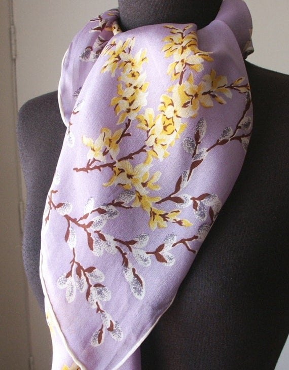 RESERVED for DANIELA....Vintage 60's Scarf, Pastel Lavender Floral with Brown, White, Yellow, Large
