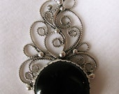 Shadow Play Sterling Silver Filigree and Black Obsidian Pendant