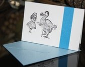 Hand-Stamped MINI Card...Alice and the Dodo.. Alice In Wonderland Series