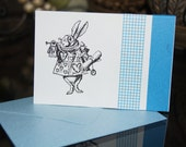 Hand-Stamped MINI Card...The White Rabbit in costume.. Alice In Wonderland Series