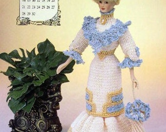 Annie's Attic Heirloom Crochet Doll Dress Pattern 1996 Edwardian Lady Collection - MISS APRIL