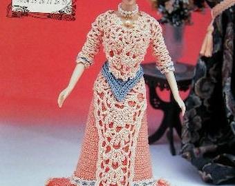 Annie's Attic Heirloom Crochet Doll Dress Pattern 1996 Edwardian Lady Collection - MISS JUNE