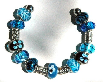 Pandora Style Beaded Charm Bracelet