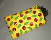 Eyeglass or Sunglasses Case - Zipper Top - Cell Phone, Camera, iPod Bag - Padded Zipper Pouch - LADYBUGS