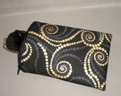 Eyeglass or Sunglasses Case - Zipper Top - Padded Zippered Pouch - Gold and Black Swirling Dots