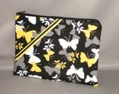 Cosmetics Bag - Medium Padded Zippered Pouch - Organizer - Butterfly - Yellow, Black, Gray, White