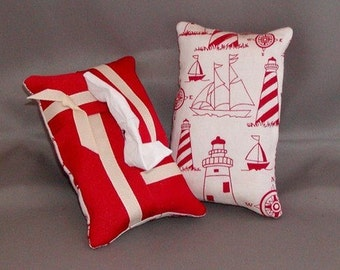 Kleenex Purse Size Tissue Pack Cozy Case Cover Holder - SAILBOATS AND LIGHTHOUSES - Red and Ivory