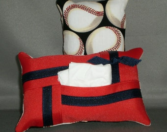 Kleenex Purse Size Tissue Pack Cover Cozy Holder Case - BASEBALLS - Red White and Blue