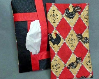 Full Size Kleenex Tissue Cover Cozy Holder Case - Refillable - For Auto, Desk, Locker, Purse, Travel, Home Decor - Roosters - Black and Red