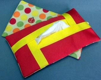 Full Size Kleenex Tissue Cover Cozy Holder Case - Refillable - For Auto, Desk, Locker, Purse, Travel, Home Decor - Lady Bugs - Polka Dots