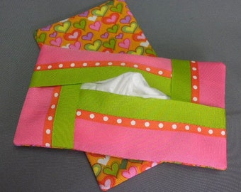 Kleenex Tissue Cover Cozy Case Holder - Full Size Tissue Refillable - For Auto, Desk, Locker, Purse, Travel, Home Decor - Hearts