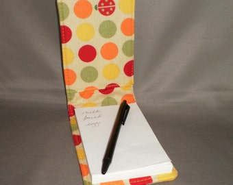 Notepad Holder With Pen - Journal  - Polka Dots and Lady Bugs - Khaki Yellow Red Green Orange