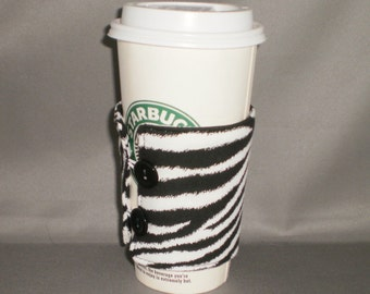 Coffee Cozy - Coffee Cuff - Coffee Cup Sleeve - Reuseable - Eco Friendly - Zebra - Animal Print