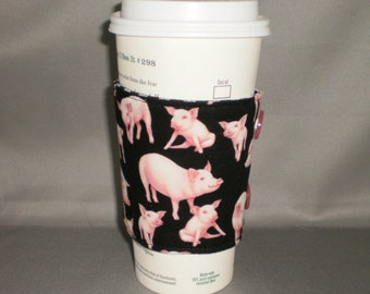 Coffee Cozy - Coffee Cuff - Coffee Cup Sleeve - Reuseable - Eco Friendly - Pigs