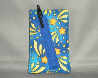 Diary - Notepad Holder with Pen - Journal - Shooting Stars - Blue