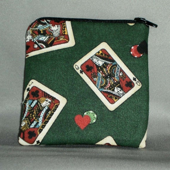 Coin Purse - Small Padded Zippered Pouch - Mini Wallet - CARDS - POKER CHIPS - Casino