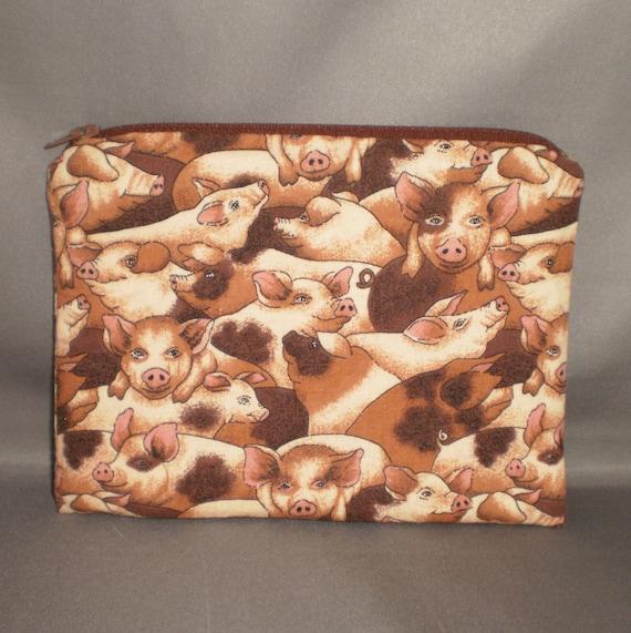 Cosmetics Bag - Medium Padded Zippered Pouch - Pigs - Piggies - iPhone - Camera - Power Cord Storage