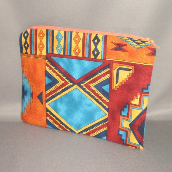 Cosmetics Bag - Medium Padded Zippered Pouch - SOUTHWEST - Native American - Turquoise
