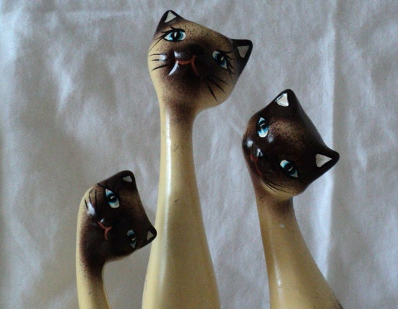 3 Siamese Cat Figures with Elongated Necks 1960s