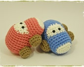 Crochet baby rattles amigurumi cars - two in a set - organic cotton