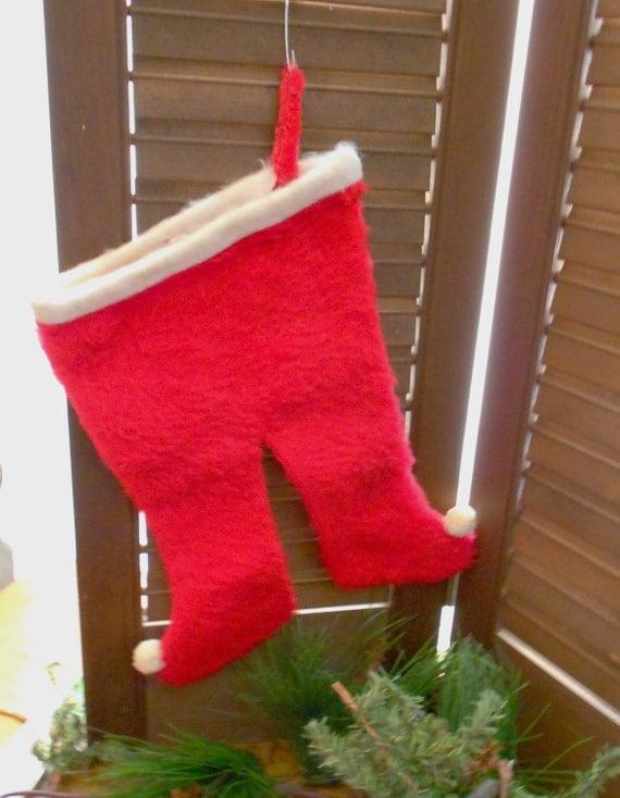 Fuzzy Furry Red Vintage Santa Pants Stocking