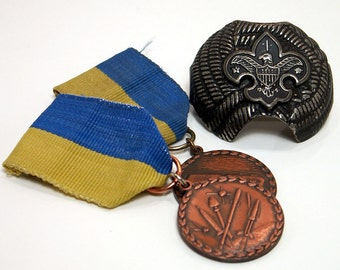 1950s Boy Scout Medals Neckerchief Slide Instant BSA Collection