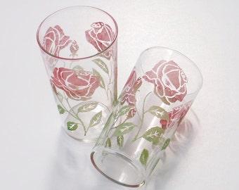 Vintage Water Glasses Rose Design Tumblers