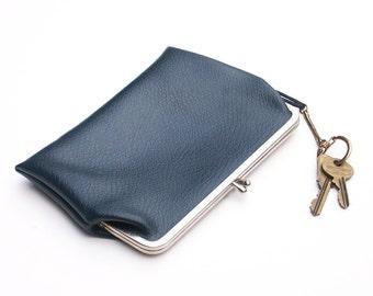 Vintage Blue Leather Clutch Change Purse Pocketbook