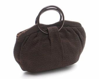 Vintage Tucktite Purse Dark Chocolate Corduroy Handbag
