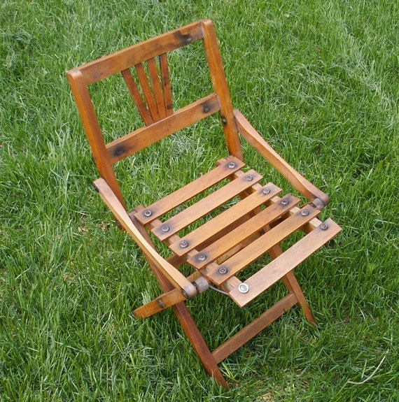 Vintage Wooden Folding Chair Small