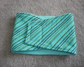 Dog Belly Band - Aqua with Brown and Green Stripes