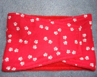 Red belly band with white paw prints  - Male Dog Diaper