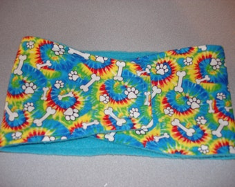 Male Dog Belly Band - Male Dog Diaper - Tie Dye with Bones and Paws