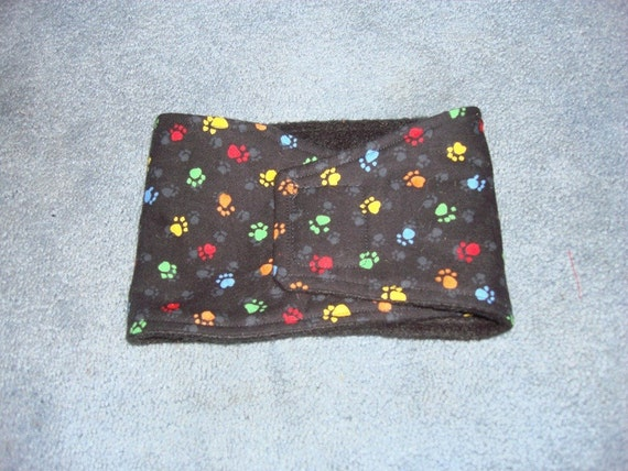 Black with Multi Colored Paw Prints Dog Belly Band - Available in all sizes
