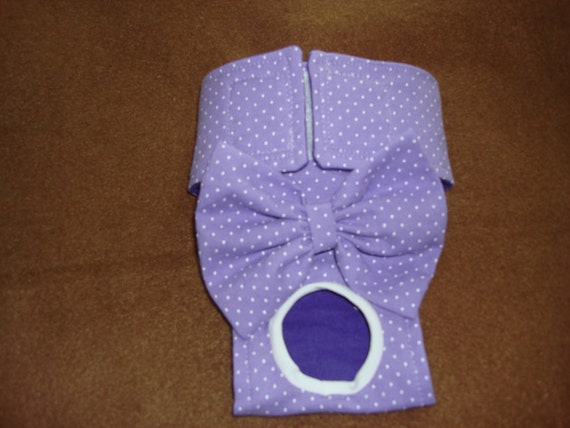 Female Dog Diaper / Panties - Lavender Polka Dot - This listing for XS and Small - Larger sizes available upon request