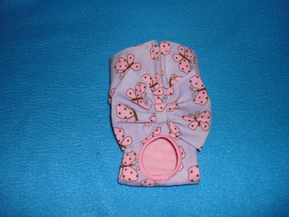 Dog Panties  - Female Dog Diaper - Lavender with Pink Butterflies XXS -Small