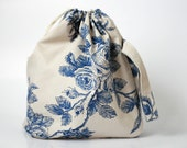 Knitting Project Bag. BLUE ROSES. Special KnitterBag design. EURO WEEK 10 PERCENT DISCOUNT