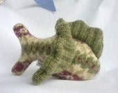Small Green and Cream Upcycled Felted Wool Fishie Plush Toy