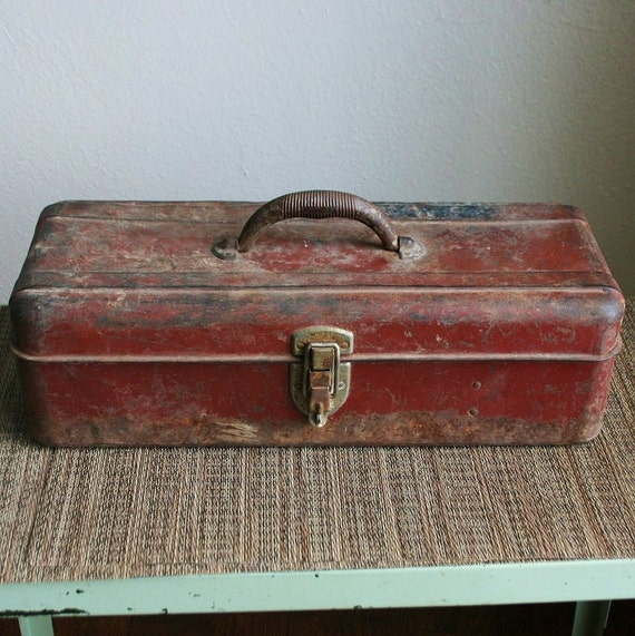 Vintage Old School Liberty Red Worn Metal Tool Box