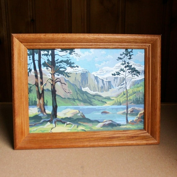 Vintage 1960s Paint By Numbers - Mountain and Lake Scene - 14x10 Painting - Framed