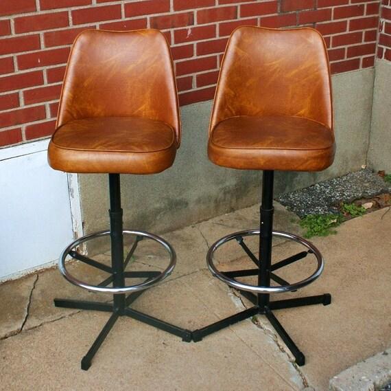 Retro Vinyl And Chrome Swivel Chairs Tulip Style Admiral
